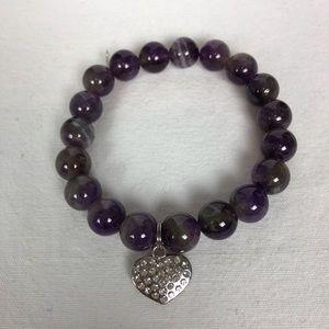 Jewelry - New purple stretch bracelet with heart 💜 charm